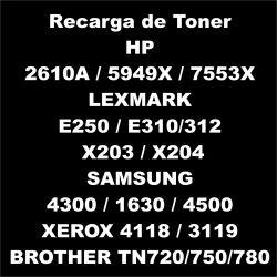 Recarga de Toner preto - HP 2610A / 5949X  / 7553X LEXMARK E250 / E310/312 / X203 / X204 SAMSUNG 4300 / 1630 / 4500 XEROX 4118 / 3119 BROTHER TN720/750/780