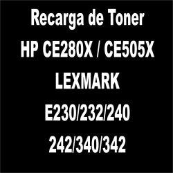 Recarga de Toner preto - HP CE280X / CE505X / LEXMARK E230/232/240/242/340/342