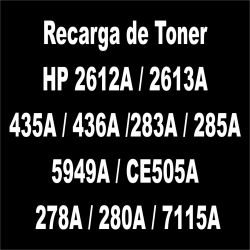 Recarga de Toner preto - HP 2612A / 2613A / 435A / 436A /283A / 285A / 5949A / CE505A /  278A / 280A / 7115A