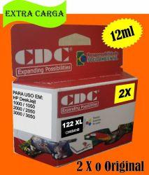 Cartucho de Tinta CDC Hp 122 XL Colorido 12 ml | CH564HB | Compatível
